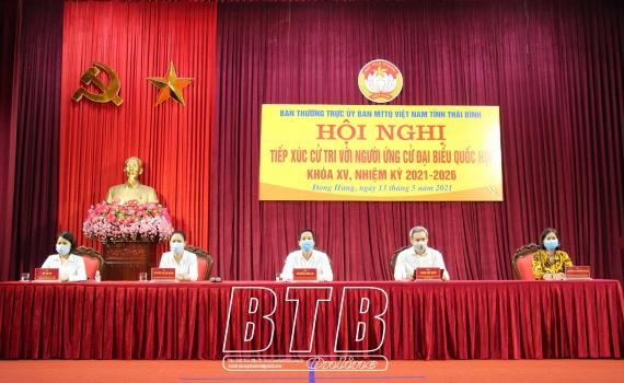 Tiếp xúc cử tri với người ứng cử đại biểu Quốc hội khóa XV tại huyện Đông Hưng