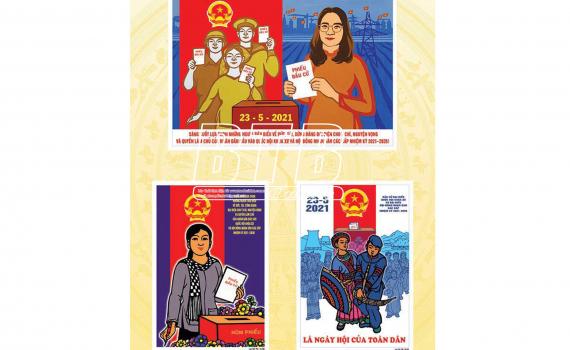 Triển lãm tranh cổ động bầu cử đại biểu Quốc hội khóa XV và đại biểu HĐND các cấp nhiệm kỳ 2021 - 2026