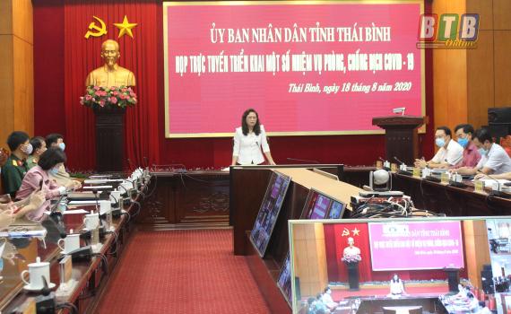 Đồng chí Nguyễn Thị Lĩnh, Tỉnh ủy viên, Phó Chủ tịch UBND tỉnh, Phó Trưởng ban thường trực Ban Chỉ đạo tỉnh phòng, chống dịch Covid-19 phát biểu tại cuộc họp.